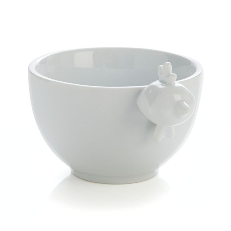 Designer Mark Daniel brings the farm straight to the table in this whimsical bowl embellished with a perky rooster. Modeled head adds 3D personality to large size bowl that can be partnered with large bull and medium cow bowls for the complete barnyard experience.<br /><br /><NEWTAG/><ul><li>Designed by Mark Daniel</li><li>Porcelain</li><li>Dishwasher-, microwave- and oven-safe up to 350 degrees</li></ul>