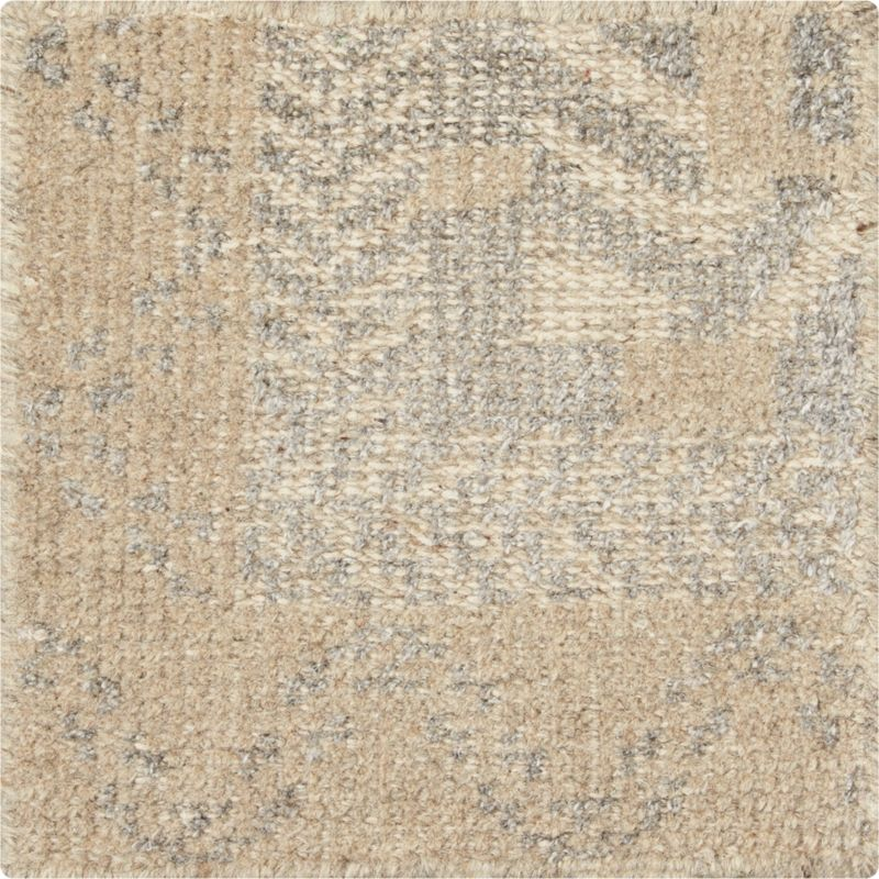 """Rosalie Neutral Hand Knotted Oriental 12"""" sq. Rug Swatch"""