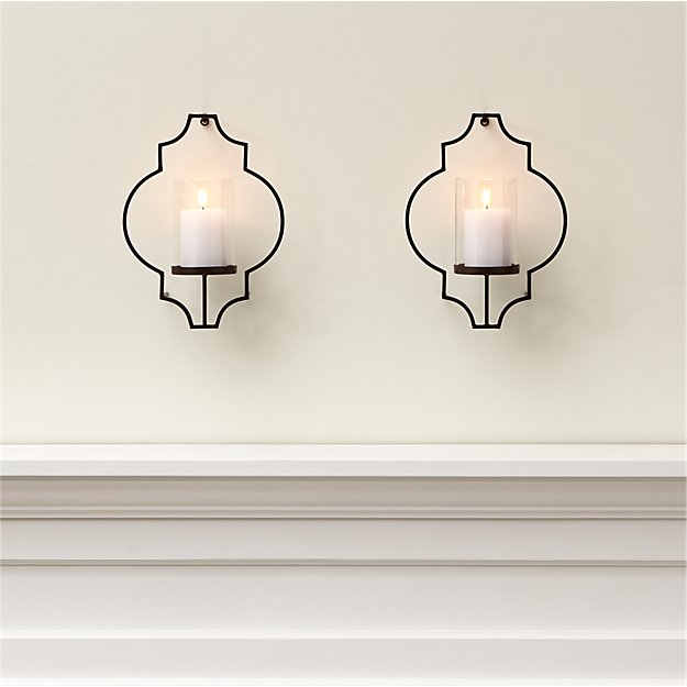 Set Of 2 Rosaline Metal Wall Candle Holders Crate And Barrel