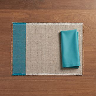 Roscoe Teal Placemat and Fete Aqua Napkin