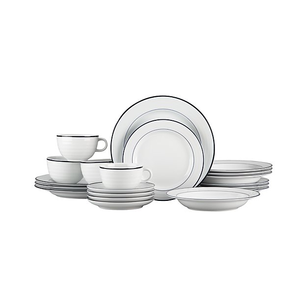 Roulette Blue Band 20-Piece Dinnerware Set
