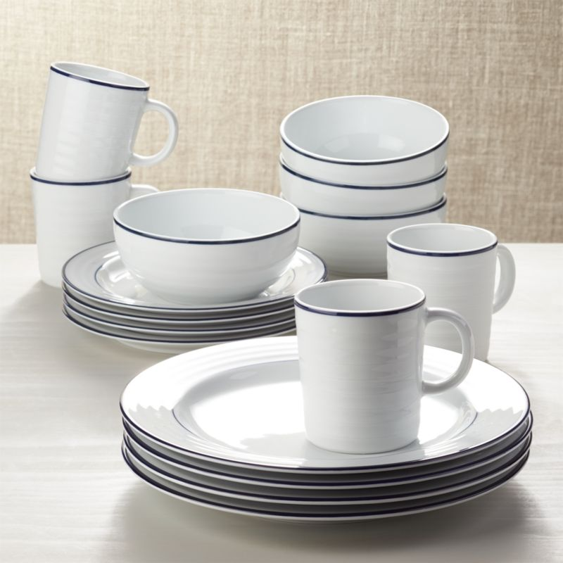 Roulette Blue Band 16 Piece Dinnerware Set Crate And Barrel