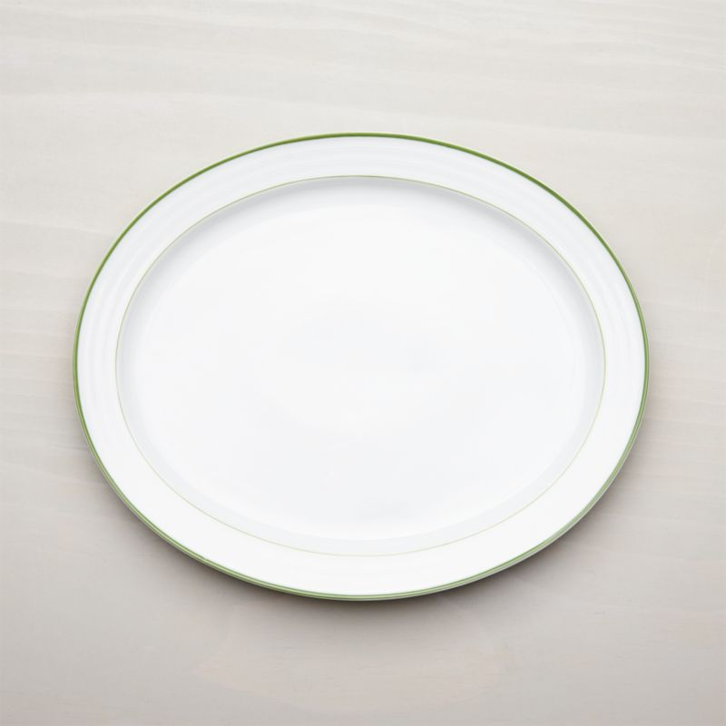 Roulette Green Band Oval Platter