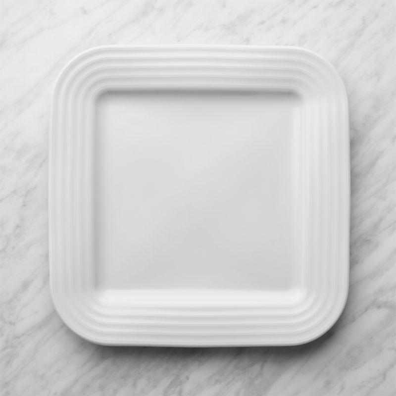 Roulette White Square Dinner Plate
