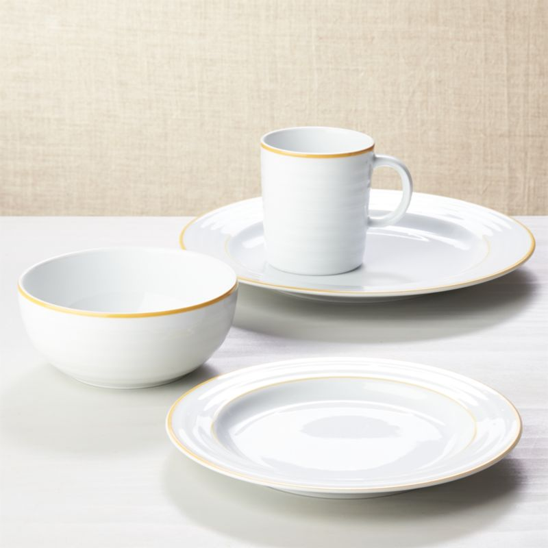 Roulette Yellow Band 4-Piece Place Setting