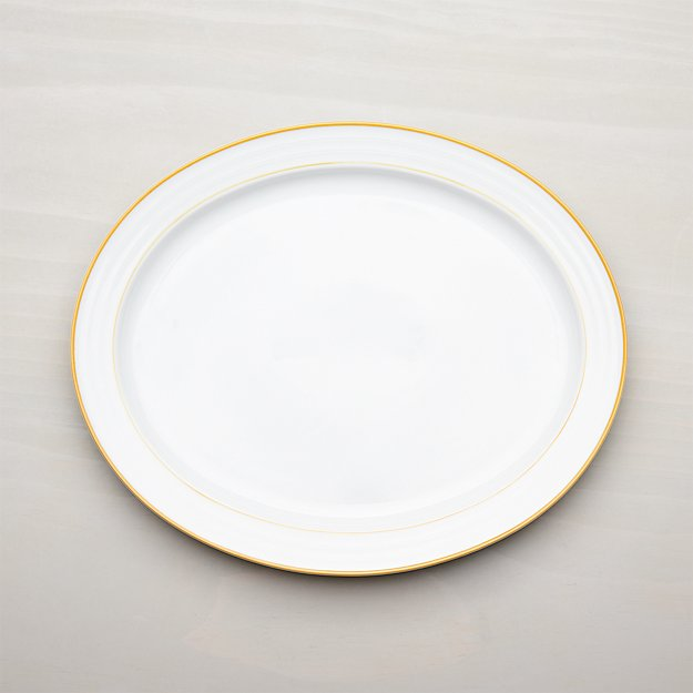 Roulette Yellow Band Oval Platter