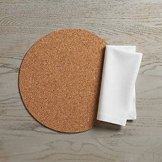 Round Cork Reversible Placemat and Abode Napkin