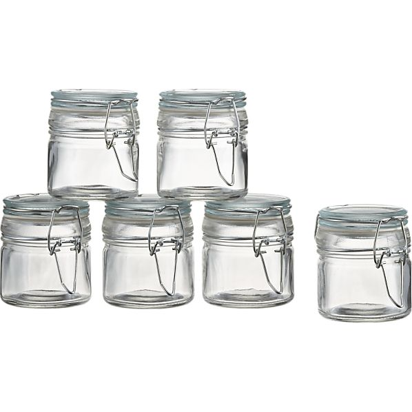 Set of 6 Mini Spice Jars with Clamp