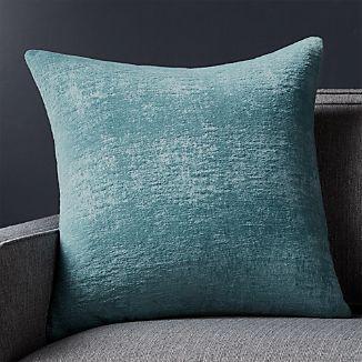 """Roussel Blue Velvet 20"""" Pillow with Down-Alternative Insert"""