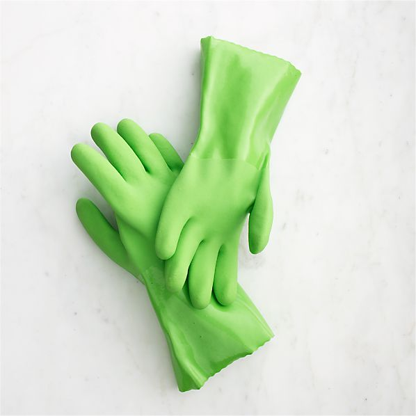 Large Green Rubber Gloves Pair