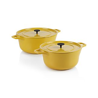 Crate and Barrel Cast Iron Hollandaise Dutch Ovens by Russel Pinch