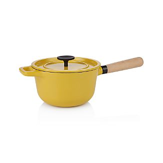 Crate and Barrel Cast Iron 1.5 qt. Hollandaise Saucepan with Lid by Russell Pinch