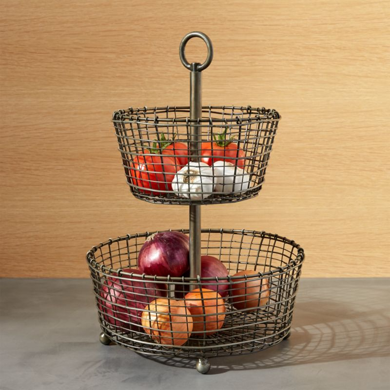 rustic 2 tier iron fruit basket crate and barrel. Black Bedroom Furniture Sets. Home Design Ideas