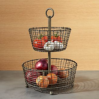 Rustic 2-Tier Iron Fruit Basket