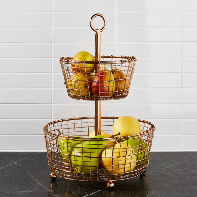 Rustic 2 Tier Copper Fruit Basket Crate And Barrel