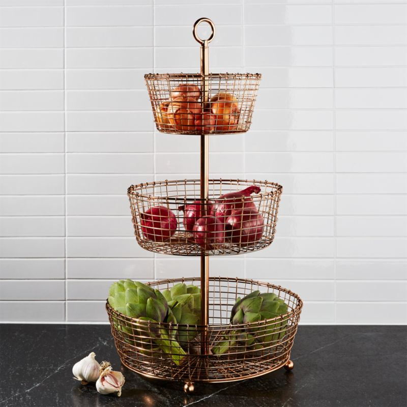 Rustic 3 Tier Copper Fruit Basket Crate And Barrel