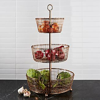 Rustic 3-Tier Copper Fruit Basket