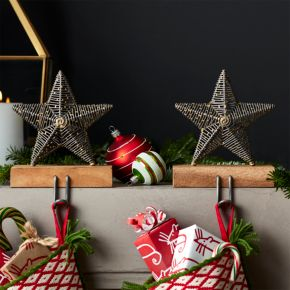 Rustic Star Stocking Hooks Set of 2