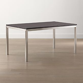 Black Marble Top/ Stainless Steel Base Parsons Dining Tables