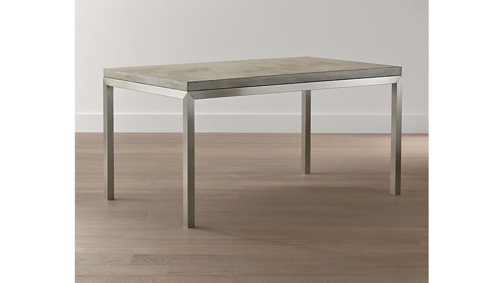 Concrete Top/ Stainless Steel Base 48x28 Parsons Dining Table