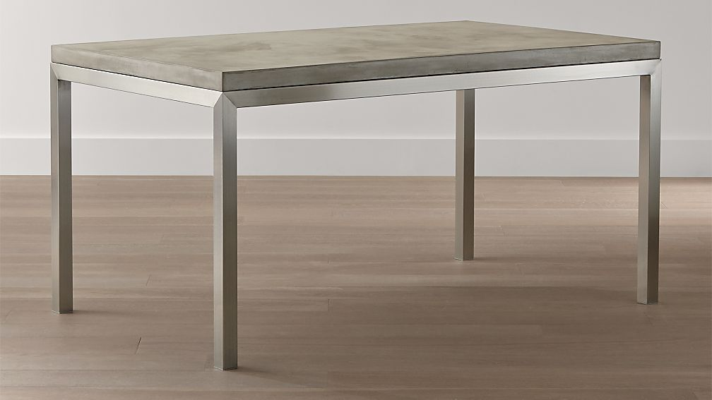 Concrete Top Stainless Steel Base Parsons Dining Tables