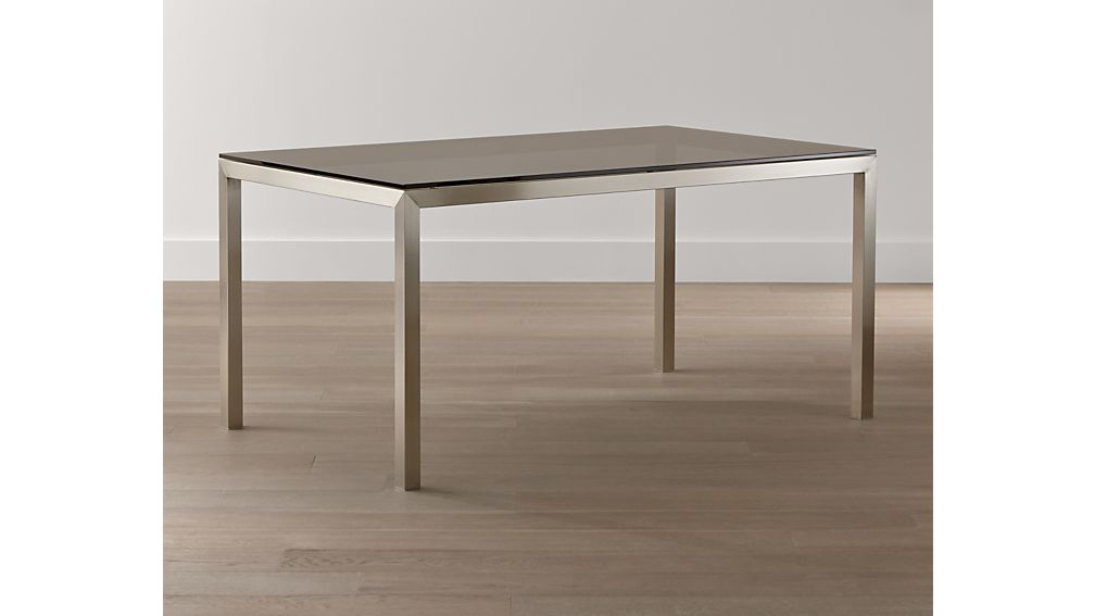 Grey Glass Top/ Stainless Steel Base 72x42 Parsons Dining Table