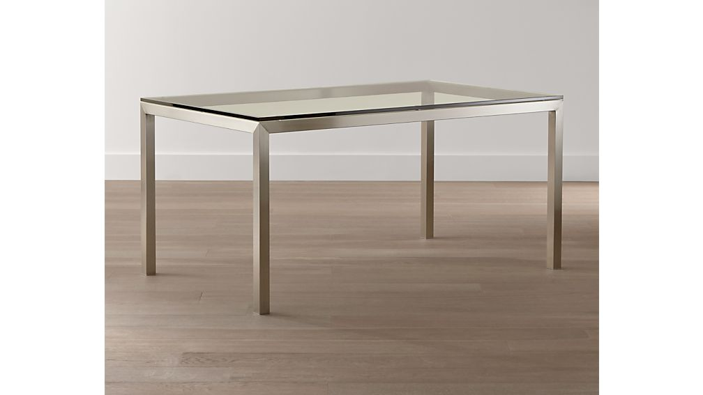 Clear Glass Top/ Stainless Steel Base 72x42 Parsons Dining Table