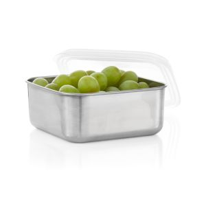 U Konserve® Medium Square Stainless-Steel Container with Clear Lid