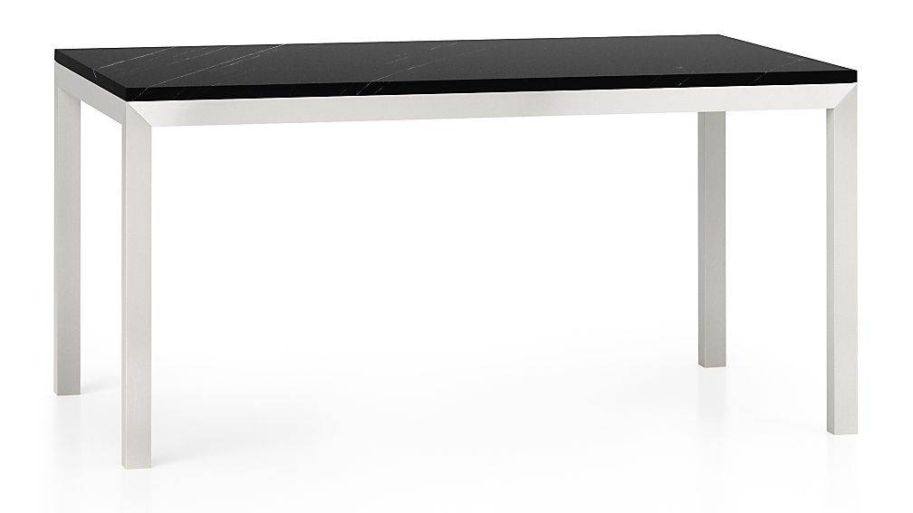 Parsons Black Marble Top Stainless Steel Base 60x36 Dining Table