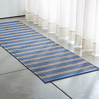 Sachi Blue Stripe Indoor/Outdoor Rug Runner