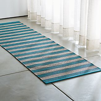 Sachi Teal Stripe Indoor/Outdoor Rug Runner