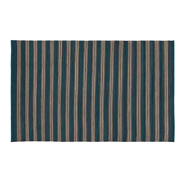 Sachi Teal Stripe Indoor/Outdoor 5'x8' Rug