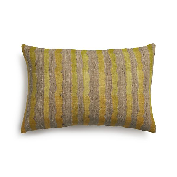 "Saffron Stripe 24""x16"" Pillow with Feather-Down Insert"