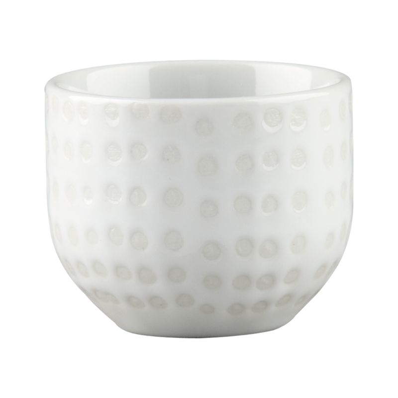 Wax relief from a silkscreen transfer lends rustic woven texture to this porcelian sake cup.<br /><br /><NEWTAG/><ul><li>Porcelain with wax relief pattern glaze</li><li>Dishwasher-, microwave-, freezer- and oven-safe to 250 degrees</li><li>Water safe</li><li>Made in China</li></ul>