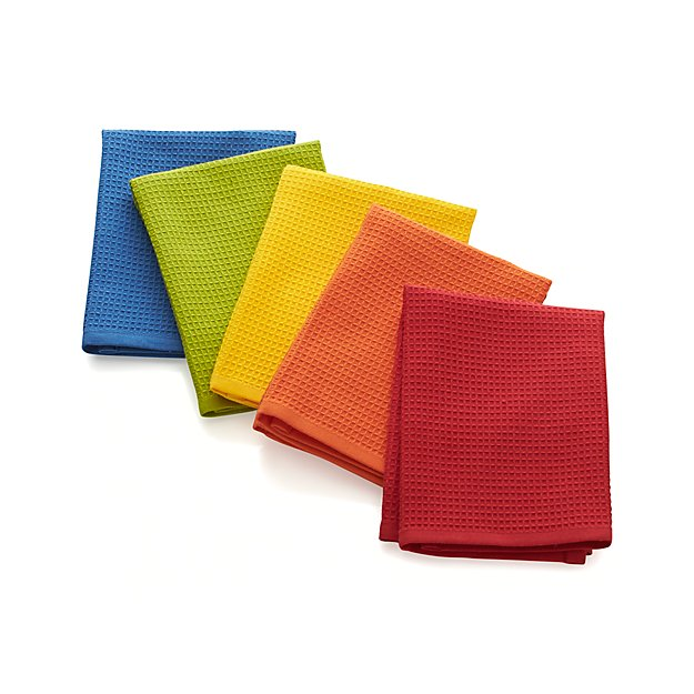 Set Of 5 Salsa Solid Dish Cloths Crate And Barrel