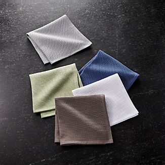 Set of 5 Salsa Solid Neutral Dish Cloths