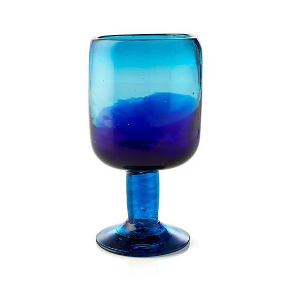 Salud Azul Wine Glass