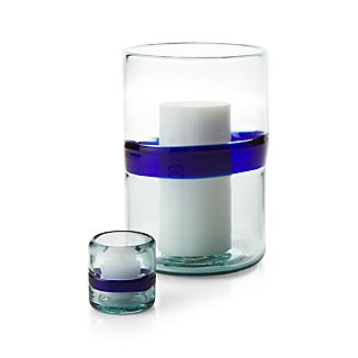 San Miguel Blue Glass Candle Holders