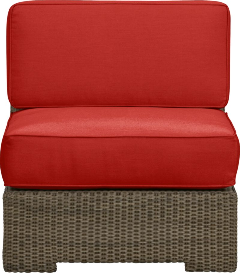 Ease into the Sanibel lounge collection. With a breezy cabana look, resort-style seating is handwoven in all-weather resin wicker with warm honey and caramel tones. Small, tight weave wraps with precision over sturdy powdercoated aluminum. Modular group configures sectional arrangements to any size outdoor space. Deep cushions with self-welt detail are covered in fade- and mildew-resistant Sunbrella acrylic in spicy caliente.<br />After you place your order, we will send a fabric swatch via next day air for your final approval. We will contact you to verify both your receipt and approval of the fabric swatch before finalizing your order.<br /><br /><NEWTAG/><ul><li>Hand-woven, fade-resistant, recyclable resin wicker</li><li>Aluminum frame with powdercoat finish</li><li>For indoor or outdoor use</li><li>Cushion is fade- and mildew-resistant Sunbrella acrylic</li><li>Spot clean cushion</li></ul>