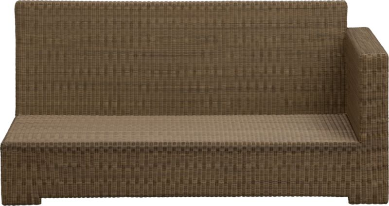 Ease into the new Sanibel lounge collection. With a breezy cabana look, resort-style seating is handwoven in all-weather resin wicker with warm honey and caramel tones. Small, tight weave wraps with precision over sturdy powdercoated aluminum. Modular group configures sectional arrangements to any size outdoor space.<br /><br /><NEWTAG/><ul><li>Hand-woven UV-stabilized, fade-resistant, recyclable resin wicker</li><li>Aluminum frame with bronze powdercoat finish</li><li>For indoor or outdoor use</li><li>Made in Indonesia</li></ul>