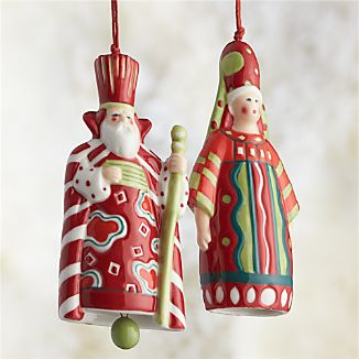 Santa King and Queen Bell Ornaments