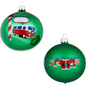 Santas Road Trip Ball Ornaments Set of Two