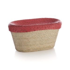Sarinana Oval Basket with Coral Lid