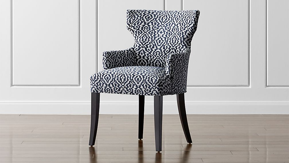 Sasha Upholstered Dining Arm Chair Minuet: Navy | Crate ...