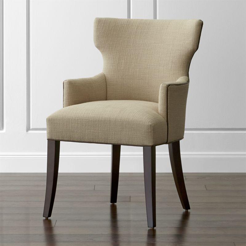 Pull glamour up to the table with Sasha, a modern upholstered chair that cuts a striking silhouette. <NEWTAG/><ul><li>Certified sustainable hardwood frame</li><li>Soy-based polyfoam seat and back cushions</li><li>Web suspension system</li><li>Leather welt trim</li><li>Leg finish in hickory</li><li>Made in North Carolina, USA of domestic and imported materials</li></ul>