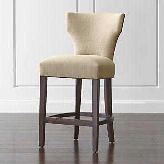 Sasha Upholstered Counter Stool with Leather Welt