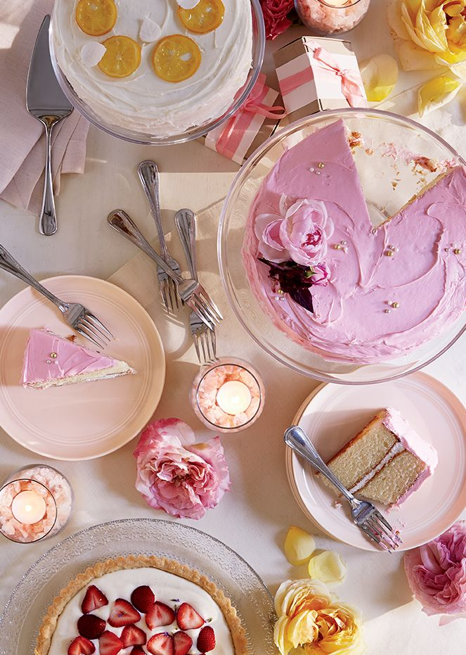 Desserts on Charolette Cake Stand and Hue Blush Dinnerware