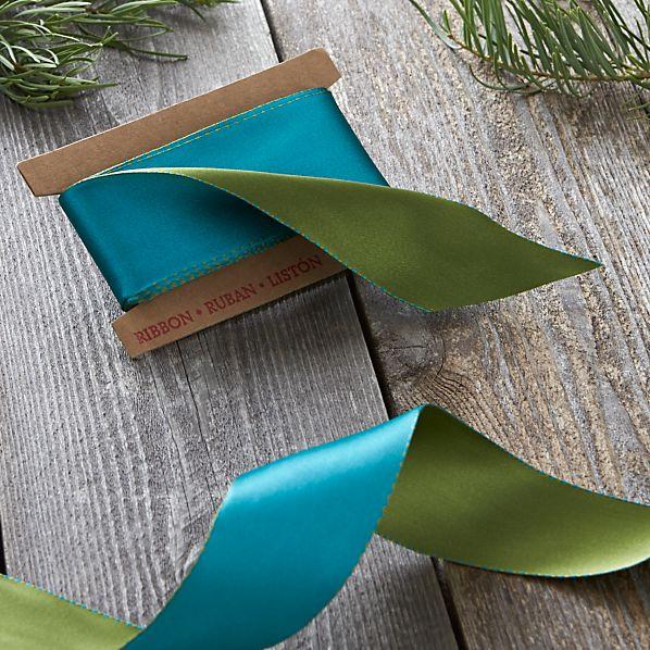 Blue and Green Satin Ribbon