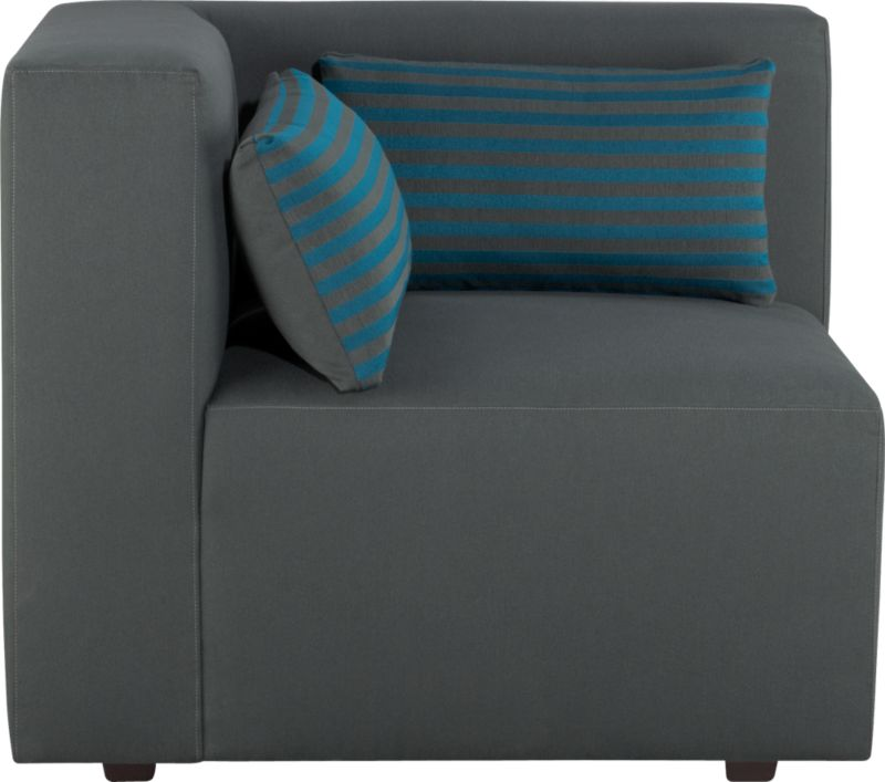 Our Savino modular sectional brings home the Italian fashion runway's hottest trend—graphic chromatic bands and color block solids. Lofty box cushion and low-profile tight back in topstitched charcoal are expertly tailored with luxurious comfort in mind. Must-have accessory: fun rectangular low-back throw pillows that reverse from narrow aqua stripes to solid charcoal. Mix and match striped and solid components in deep aqua and charcoal to suit your space.<br /><br />After you place your order, we will send a fabric swatch via next day air for your final approval. We will contact you to verify both your receipt and approval of the fabric swatch before finalizing your order.<br /><br /><NEWTAG/><ul><li>Eco-friendly construction</li><li>Certified sustainable, kiln-dried hardwood frame</li><li>Sinuous wire spring suspension with 60-90% recycled material</li><li>Tight seat and back cushion are soy-based polyfoam with fiber</li><li>Recessed plastic legs</li><li>Upholstery is 67% polyester and 33% cotton with topstitch detailing</li><li>Benchmade</li><li>See additional frame options below</li><li>Made in Virginia, USA of domestic and imported materials</li></ul>