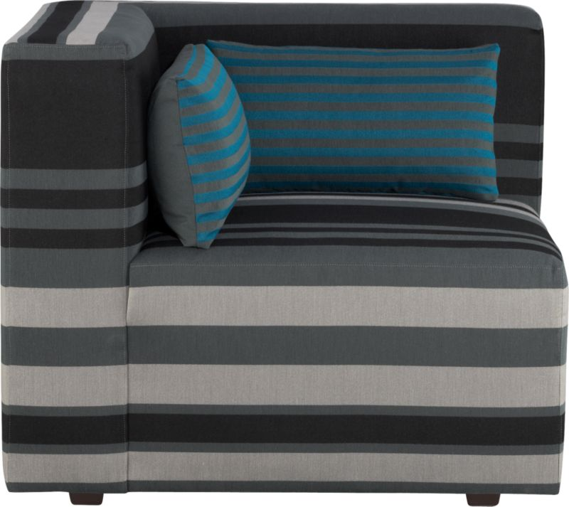 Our Savino modular sectional brings home the Italian fashion runway's hottest trend—stripes. Mix and match components to your space with graphic chromatic bands and color block solids in deep aqua and charcoal. Lofty box cushions and low-profile tight backs expertly tailored with precision matching and topstitching block together in handsome geometrics fashioned with luxurious comfort in mind. Must-have accessory: fun rectangular low-back throw pillow that reverses from narrow aqua stripes to solid charcoal.<br /><br />After you place your order, we will send a fabric swatch via next day air for your final approval. We will contact you to verify both your receipt and approval of the fabric swatch before finalizing your order.<br /><br /><NEWTAG/><ul><li>Eco-friendly construction</li><li>Certified sustainable, kiln-dried hardwood frame</li><li>Sinuous wire spring suspension with 60-90% recycled material</li><li>Tight seat and back cushions are soy-based polyfoam with fiber</li><li>Recessed plastic legs</li><li>Upholstery is 67% polyester and 33% cotton with topstitch detailing</li><li>Benchmade</li><li>See additional frame options below</li><li>Made in Virginia, USA of domestic and imported materials</li></ul>
